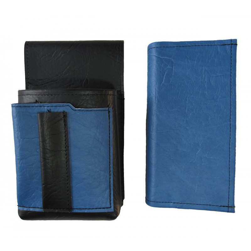 Artificial leather set - moneybag (blue, 2 zippers) and pouch with a colour element