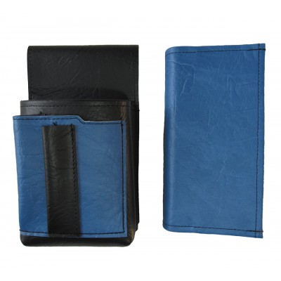 Koženkový set - peňaženka (modrá, 2 zipsy) a vrecko s farebným prvkom