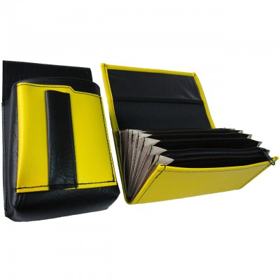 Koženkový set - kasírka (žlutá, 1 zip) a kapsa s barevným prvkem