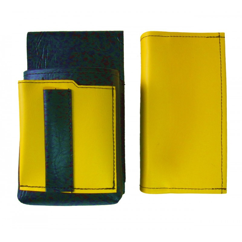 Koženkový set - peňaženka (žltá, 2 zipsy) a vrecko s farebným prvkom
