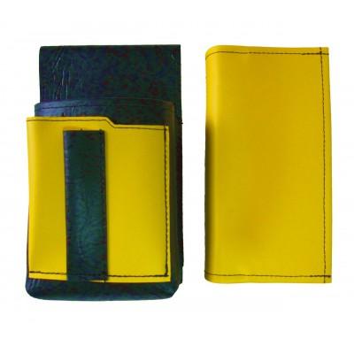 Koženkový set - kasírka (žlutá) a kapsa s barevným prvkem