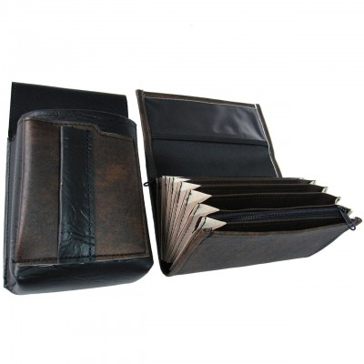 Koženkový set - kasírka (černo-hnědá, 1 zip) a kapsa s barevným prvkem