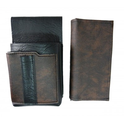 Artificial leather set - moneybag (black-brown, 2 zippers) and pouch with a colour element