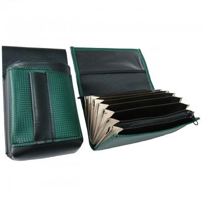Koženkový set - kasírka (tmavě zelená, 1 zip) a kapsa s barevným prvkem