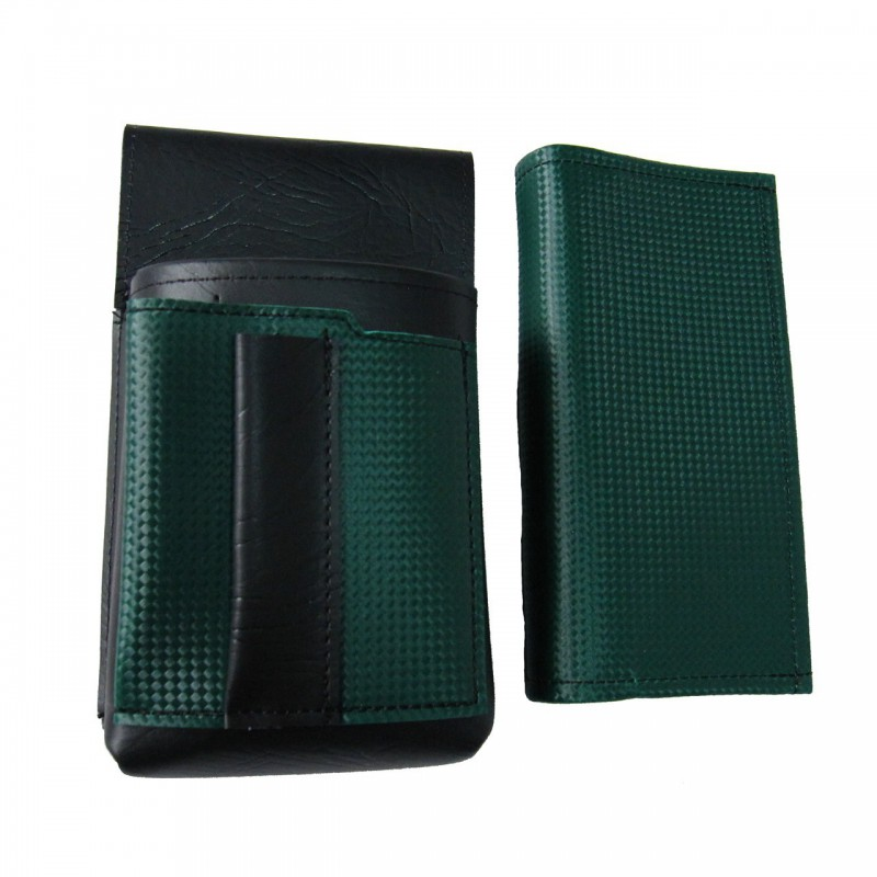 Artificial leather set - moneybag (dark green, 2 zippers) and pouch with a colour element