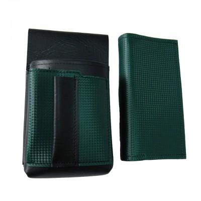 Koženkový set - kasírka (tmavě zelená, 2 zipy) a kapsa s barevným prvkem
