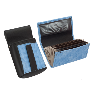 Koženkový set - kasírka (vroubkovaná, modrá, 1 zip) a kapsa s barevným prvkem