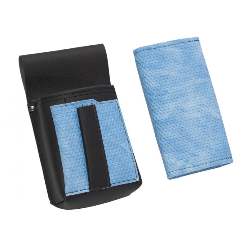 Koženkový set - peňaženka (vrúbkovaná, modrá, 2 zipsy) a vrecko s farebným prvkom