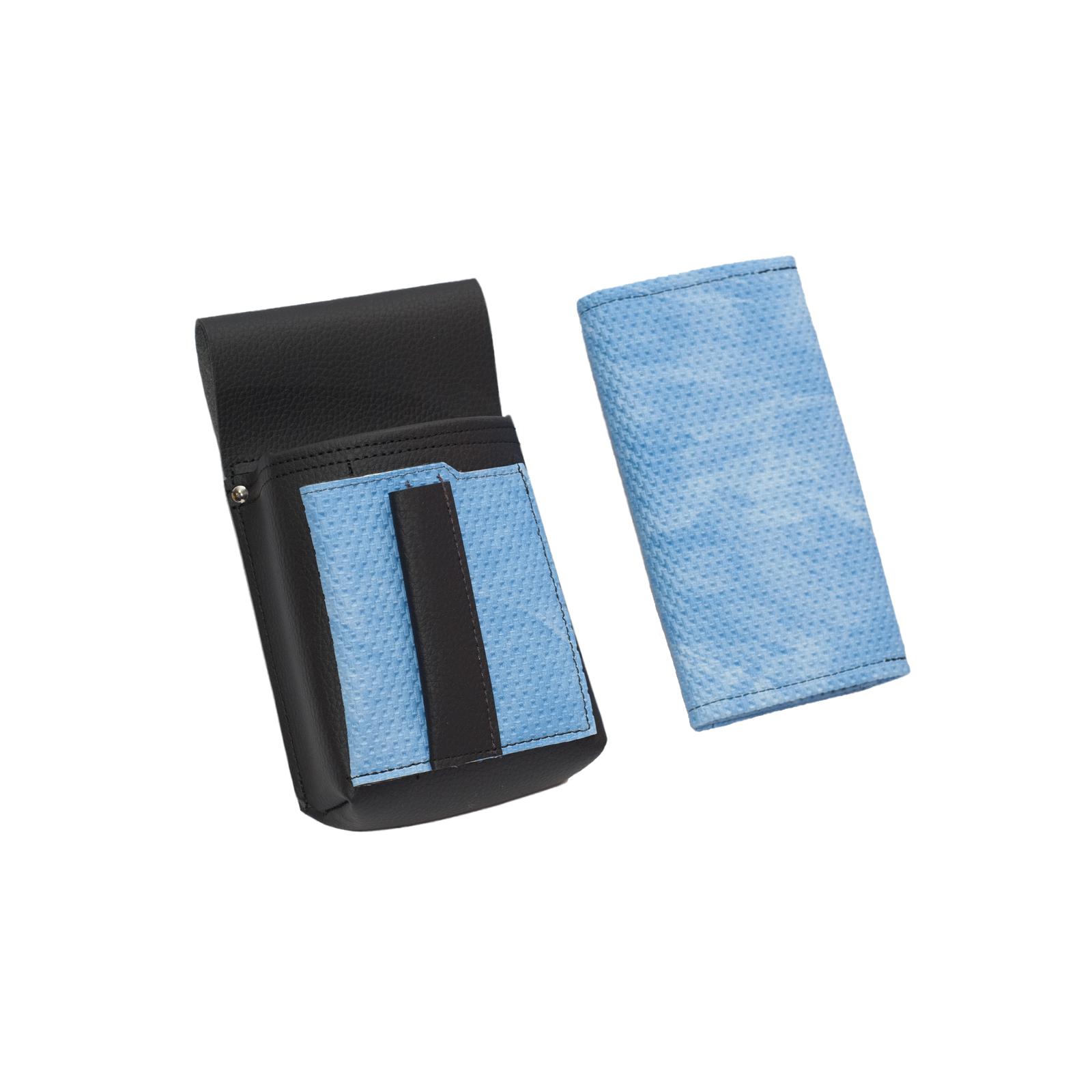 e9bd86566 Koženkový set - peňaženka (vrúbkovaná, modrá, 2 zipsy) a vrecko s farebným
