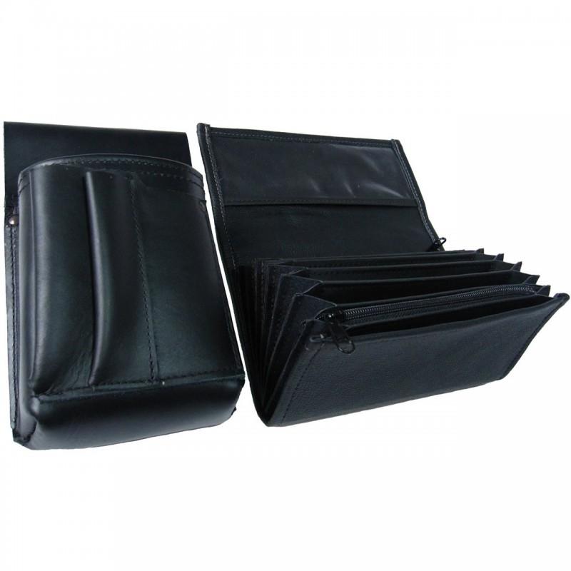 Lederkomplett :: Brieftasche (schwarz) + Kellnertasche