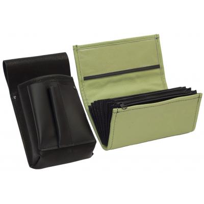 Lederkomplett :: Brieftasche (olivgrun) + Kellnertasche