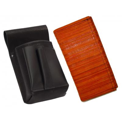 Kožený komplet ::  kasírka (oranžová proužky) +  pouzdro
