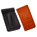 Leather set :: pocketbook (striped orange) + holster