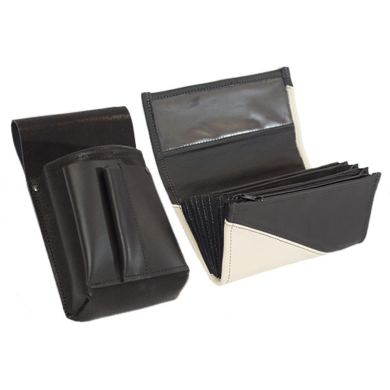 Lederkomplett :: Brieftasche (weiß/schwarz) + Kellnertasche