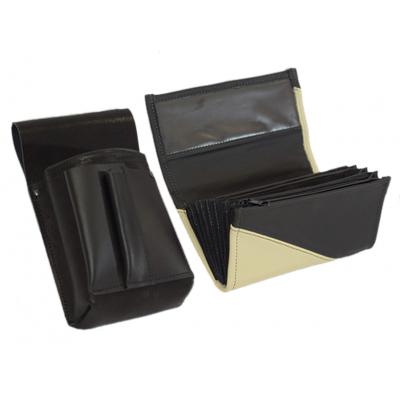 Lederkomplett :: Brieftasche (Elefantenhaut/schwarz) + Kellnertasche