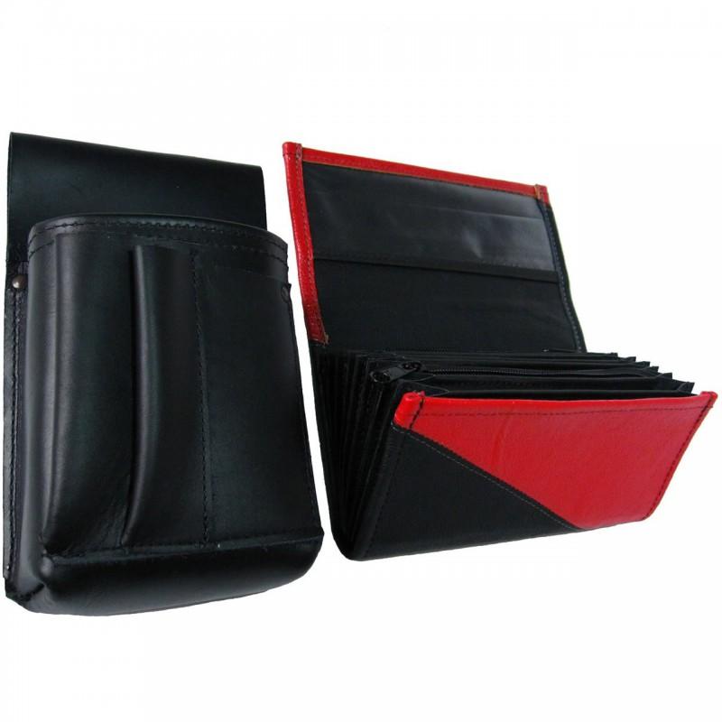 Kožený komplet :: kasírka (červená/černá) + pouzdro