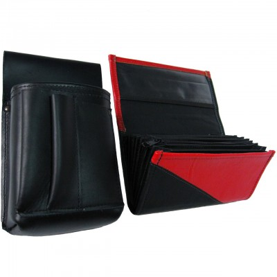 Leather set :: pocketbook (red/black) + holster