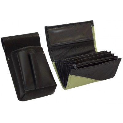 Leather set :: pocketbook (olive green/black) + holster