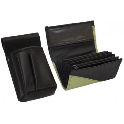 Lederkomplett :: Brieftasche (olivgrun/schwarz) + Kellnertasche