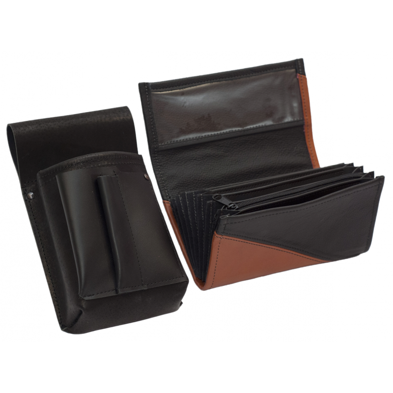 Lederkomplett :: Brieftasche (terrakota/schwarz) + Kellnertasche