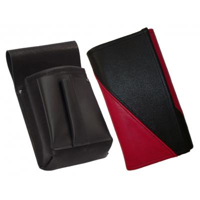 Kožený komplet :: kasírka (růžová/černá) + pouzdro