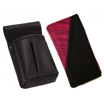 Kožený komplet :: kasírka (růžová proužky/černá) + pouzdro