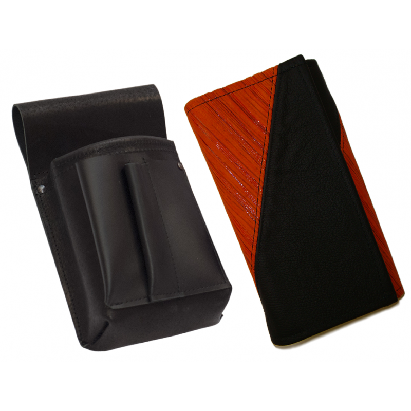 Kožený komplet :: peňaženka (oranžová prúžky/čierna) + púzdro