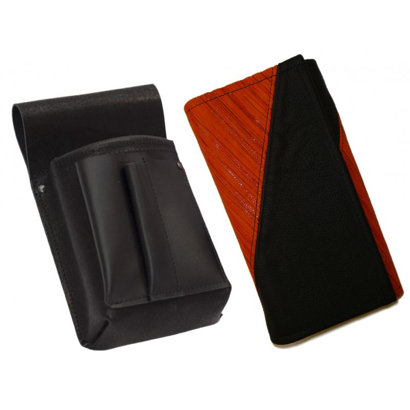 Leather set :: pocketbook (striped orange/black) + holster