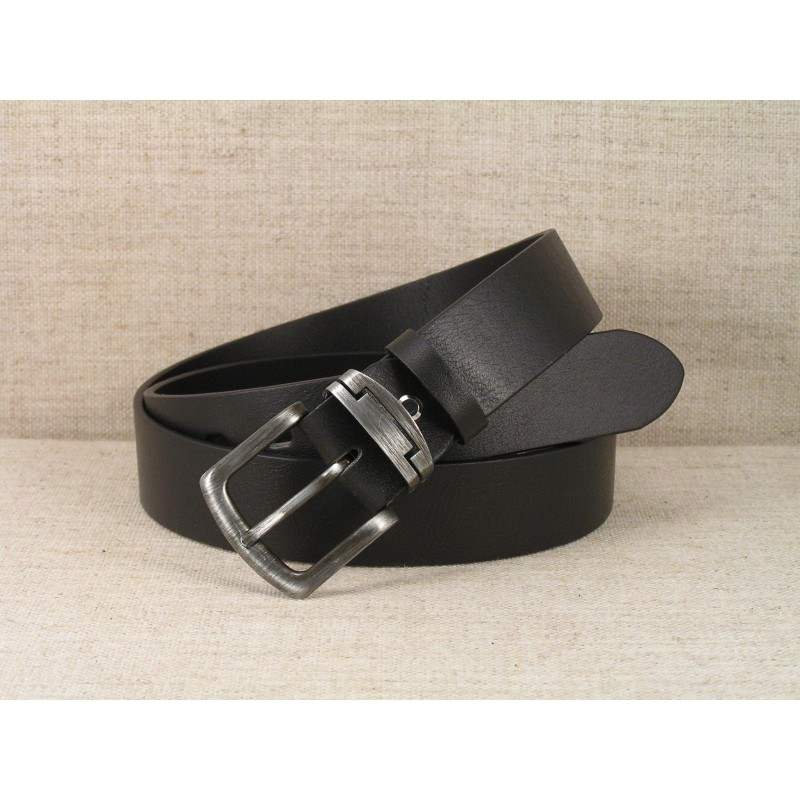00 Ledergürtel Jeans - schwarz ohne Naht