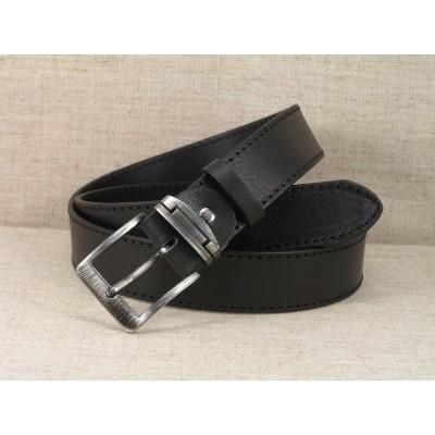 01 Ledergürtel Jeans - schwarz mit Naht