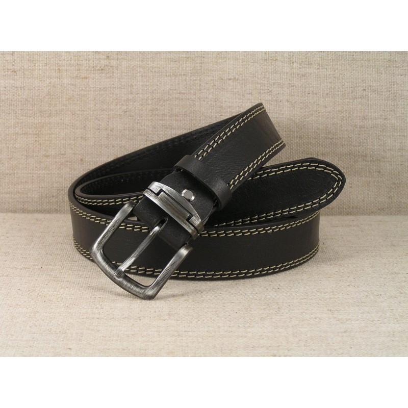 02 Kožený opasok Jeans - čierny s dvojitým prešitím