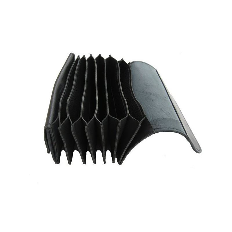 Full genuine leather pocketbook - accordion wallet - black