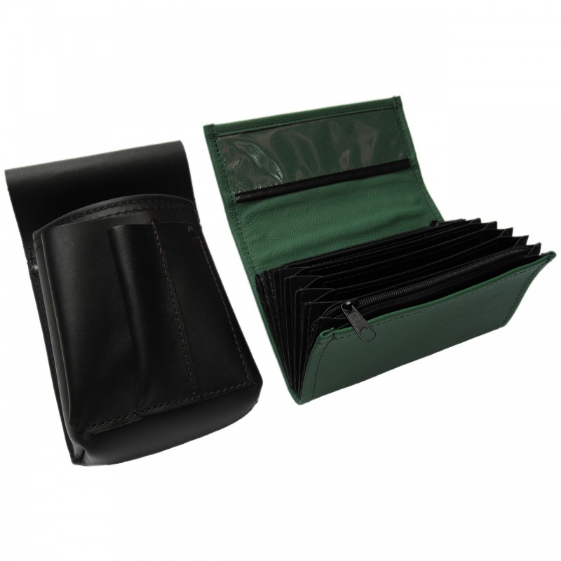 Leather set :: pocketbook (dark green) + holster