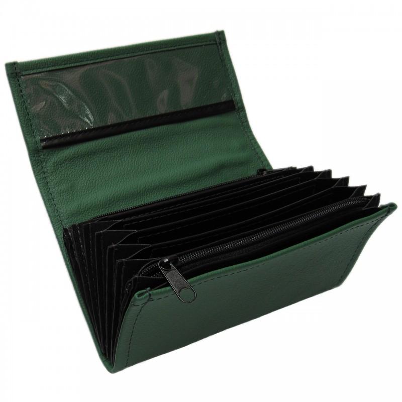 Leder-Kellnerbrieftasche - dunkelgrün