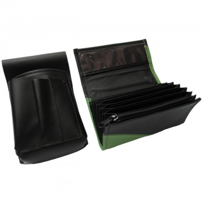 Leather set :: pocketbook (green/black) + holster