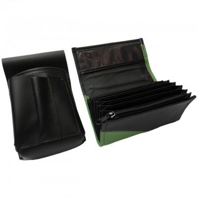 Lederkomplett :: Brieftasche (grün/schwarz) + Kellnertasche