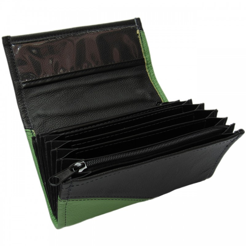 Leather waiter's purse - green/black