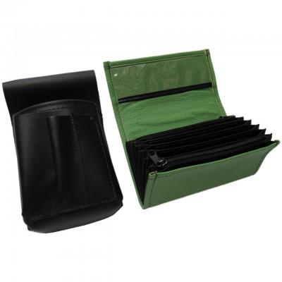 Lederkomplett :: Brieftasche (grün) + Kellnertasche