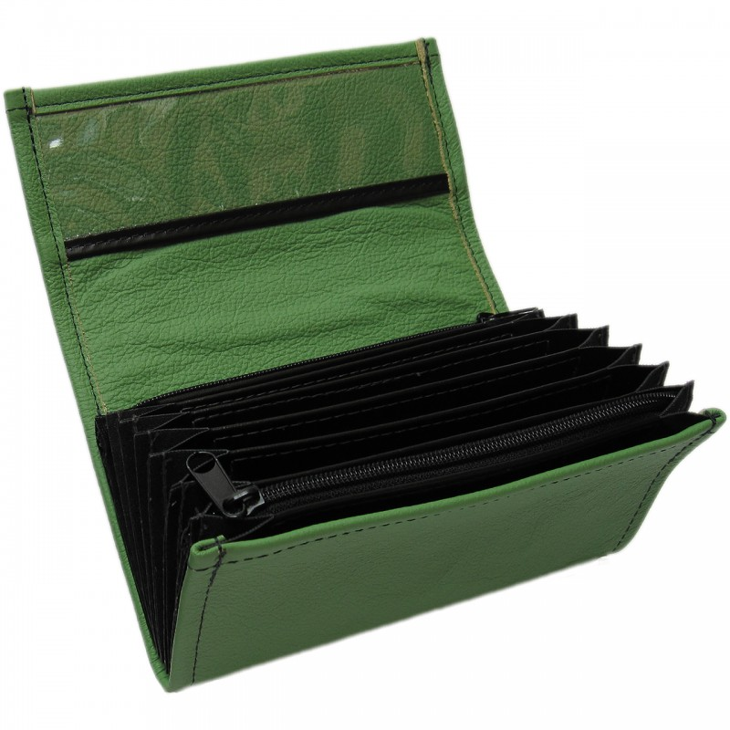 Leather waiter's purse - green