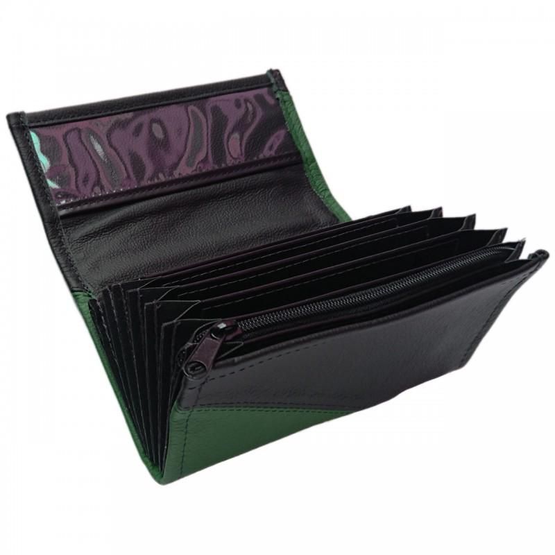 Leder-Kellnerbrieftasche - dunkelgrün/schwarz