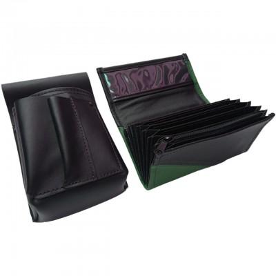 Lederkomplett :: Brieftasche (dunkelgrün/schwarz) + Kellnertasche