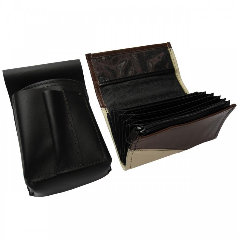 Kožený komplet :: peňaženka (slonová kosť/hnedá) + púzdro