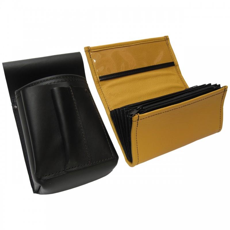 Kožený komplet :: peňaženka (žltá) + púzdro