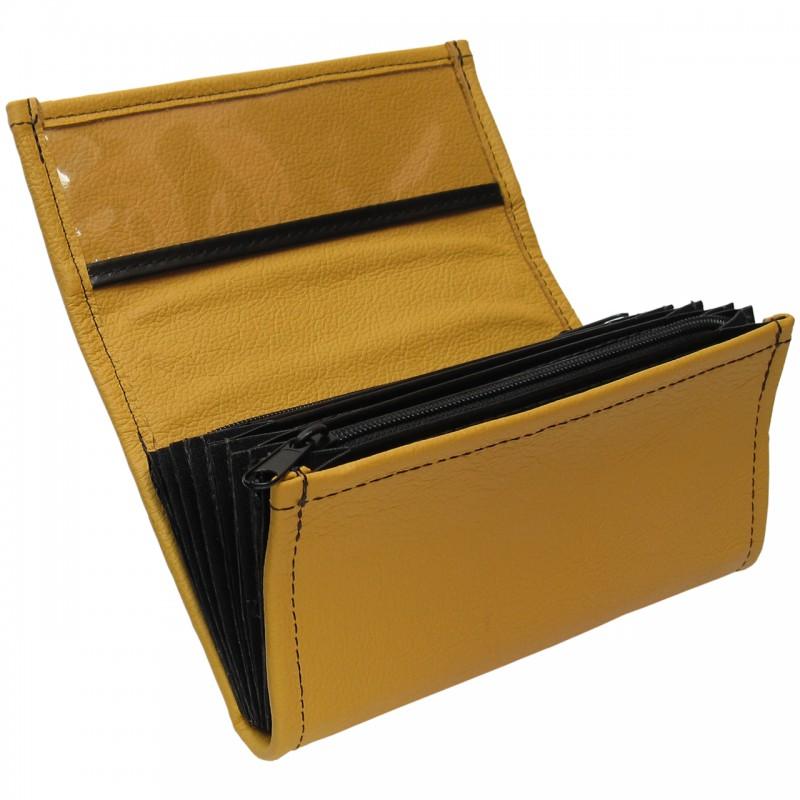 Leder-Kellnerbrieftasche - gelb