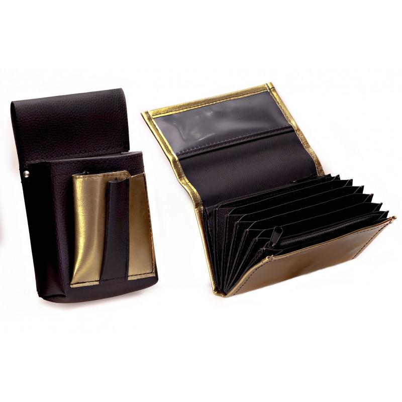 Kunstlederset - Brieftasche (gezackt, blau, 2 Reißverschlüsse) und Futteral mit einem farbigen Element