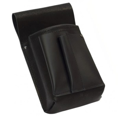 Leather waiter's pouch, case - black